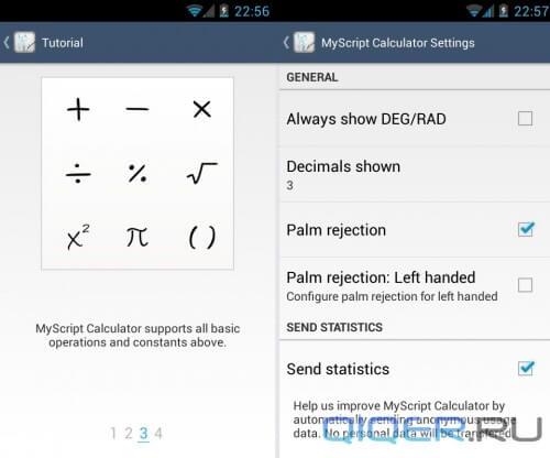 MyScript Calculator обучающие карточки и настройки