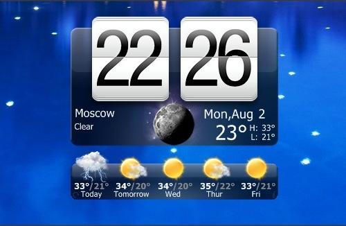 Гаджет часов HTC Home