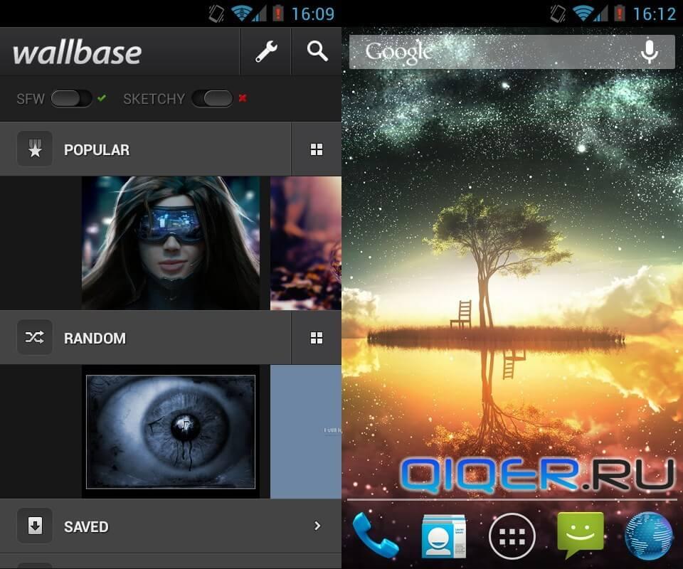 WallBase - шпалеры в целях Андроид